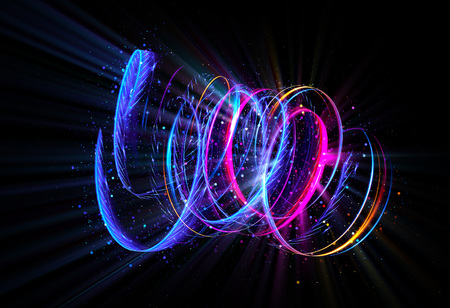 rotational: Glow swirl light effect. Circular lens flare. Abstract rotational lines. Power energy element.    Luminous shining neon lights cosmic abstract frame. Magic round frame. Swirl trail effect Stock Photo