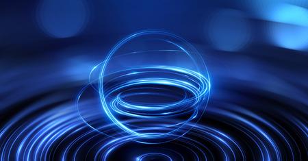 Abstrakter Ringhintergrund mit leuchtendem wirbelndem Hintergrund. Licht Kreise Lichteffekt. Glühende Abdeckung. Bild von Farbe Atomen und Elektronen. Physik-Konzept. Nanotechnologie fliesst Funken. Standard-Bild