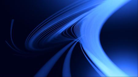 Abstracte gebogen 3d lijnen. Elegante soepele swoosh snelheidsgolf. Moderne stroom achtergrond. 3d render. Radiale beweging verplaatsingseffect. Heldere threads. Glijdende buigvormen. Virtuele cyberspace-structuur. Boog