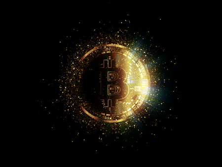 Bitcoin with glowing lights. Gold bitcoin symbol. Coins on black background. Stok Fotoğraf