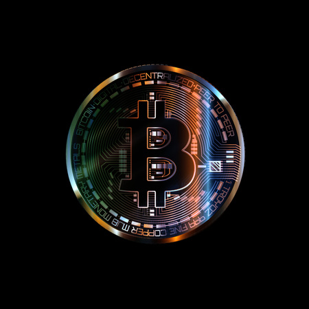 Bitcoin with glowing lights. Colorfull bitcoin symbol. Coins on black background.