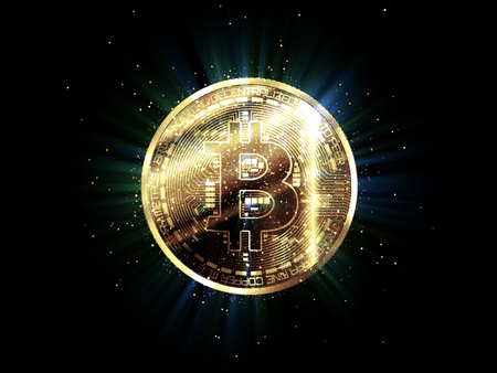 Bitcoin with glowing lights. Gold bitcoin symbol. Coins on black background. Stock Photo