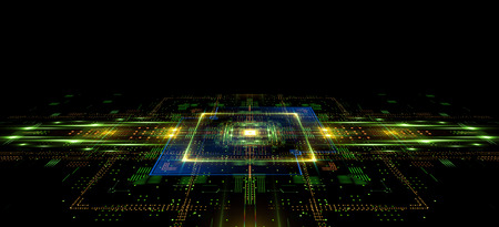Information CPU engineering. Modern technology. Computer communications. Light effect. Big data center.  Super system. Smart core. Research and development. Virtual reality.