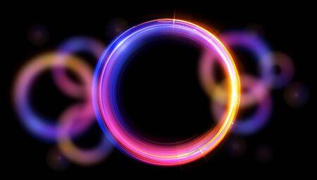Glow neon balls. Archivio Fotografico