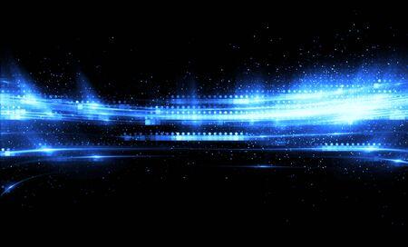 Shining neon cosmic streaks. Magic design round whirl. 스톡 콘텐츠