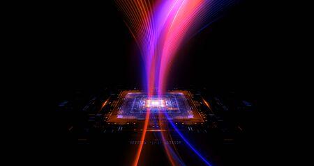 CPU socket Modern technology. Big data center. 3D rendering  abstract background