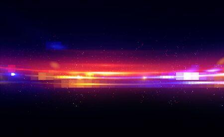 Shining neon cosmic streaks. Magic design round whirl. Swirl trail effect. 스톡 콘텐츠