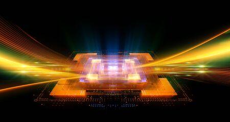 CPU socket Modern technology concept. Big data center.