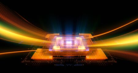 CPU socket. Modern technology abstract background