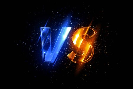 Glowing versus icon on black background. Illuminated comparison symbol.
