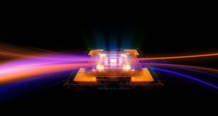 CPU socket. Modern technology. Big data center. 3D rendering abstract background Imagens