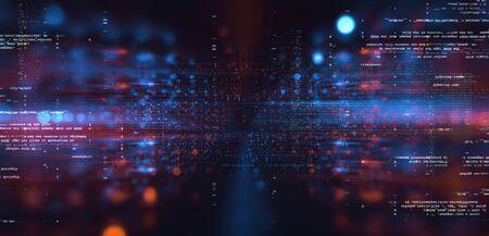 Data storage service. Server room concept. Modern web network. 写真素材