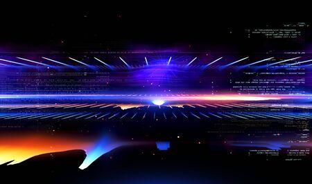 Światło LED. Technologia przyszłości. Zabłyśnij dynamiczną sceną. Neonowy rozbłysk. Kolorowe promienie. Magia poruszających się szybkich linii. Musujące studio. Wyświetlacz hologramowy. Mistyczny promień. Stylowa przestrzeń fantasy. Jasne niewyraźne fale.