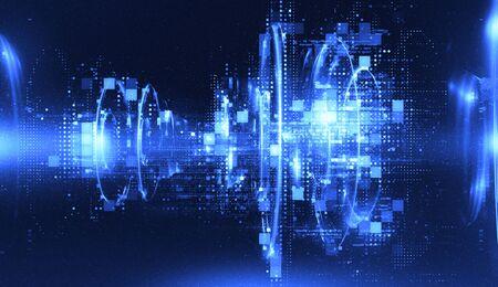 Fond de technologie abstrait 3D. Fond de HUD de nombres flottants. Les particules matricielles grillent la réalité virtuelle. Construction intelligente. Noyau de grille. Forme quantique matérielle. Technologie du futur