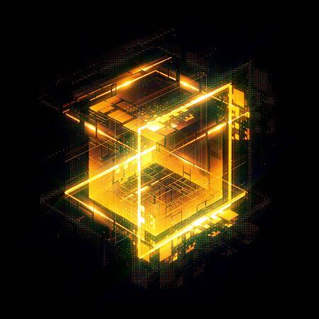Abstrakter dunkler Hintergrund. Helle Kiste. Quadrat glänzen. Leichte Geometrie. Intelligenter Code. Energieeffekt. Große Daten. Digitaler Chip. Blendgitterlinien. Glühwürfel. CPU-Kern. Hallo Tech. Mobile Innovation. SSD-Platine
