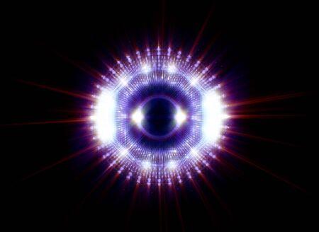 Levendige abstracte achtergrond. Mooi ontwerp van rotatieframe. Mystieke portaal. Heldere bollens. Roterende lijnen. Gloed ring. Magische neonbal. Led wazig swirl. Spiraalvormige glinsterende lijnen.