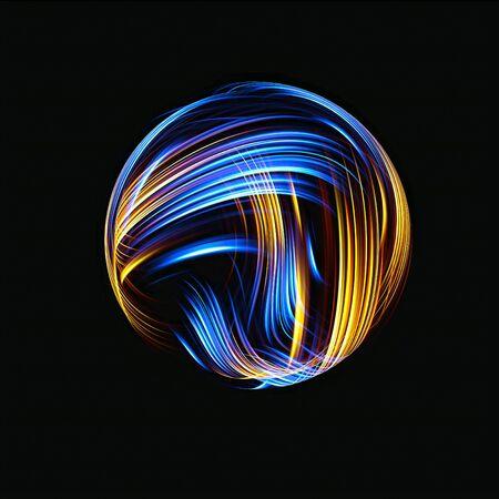 Icono de átomo 3D. Modelo nuclear luminoso sobre fondo oscuro. Bolas de energía resplandecientes. Estructura de la molécula. Rastrear átomos y electrones. Concepto de física. Formas microscópicas. Elemento de reacción nuclear. Neutrón.