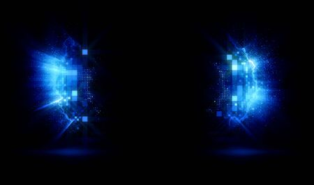Background empty wall with light frame. Space for your text. Empty Scene. Lens flare. Mystical portal. Splash gates. Glow parentheses. Shine parenthese. Foto de archivo