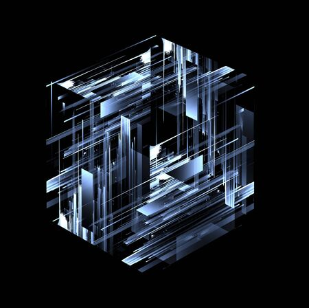 Abstract dark background. Bright box. Shine square. 