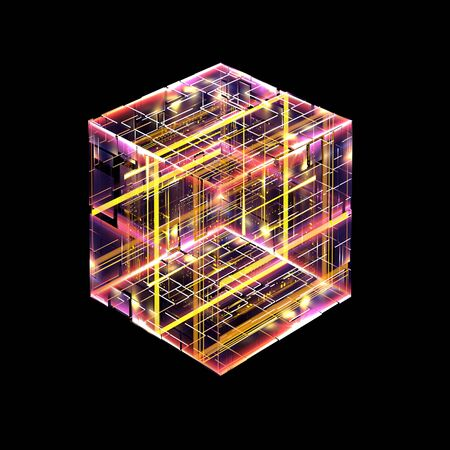 Abstract dark background. Bright box. Shine square.  Light geometry. Smart code. Energy effect. Big data.  Digital chip. Glare grid lines. Glow cubes. CPU core.  Hi Tech. Mobile innovation. SSD Board