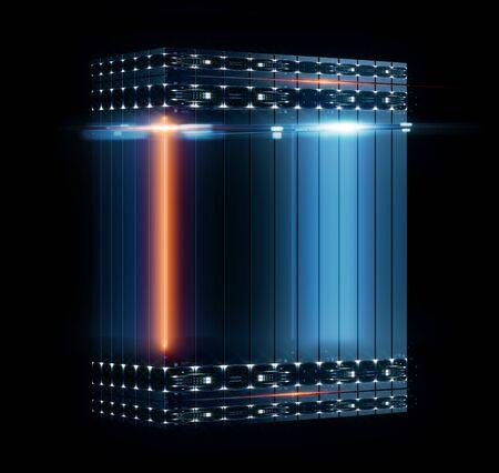 3D illustratie. Dienst voor gegevensopslag. Server ruimte. Modern webnetwerk. Internetverbinding. Quantum computersysteem. Blockchain-technologie. Raster en lijnen. Hosting domein. Elektronisch apparaat.