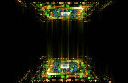 Luz LED. efecto luma. Tecnología futura. Cubos de deslumbramiento. Señal digital. Rejilla de brillo. Big data moderno. Llamarada de neón. Sistema de red informática cuántica. Código mágico. Líneas de cuadrícula. Marco vivo. Dispositivo web. Sistema de bloques.