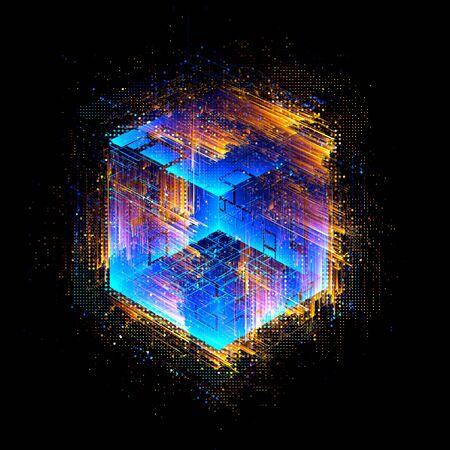 Abstrait sombre. Boîte lumineuse. Carré brillant. Géométrie légère. Code intelligent. Effet énergétique. Big Data. Puce numérique. Lignes de grille d'éblouissement. Cubes lumineux. Noyau CPU. Salut Tech. Innovations mobiles. Carte SSD Banque d'images