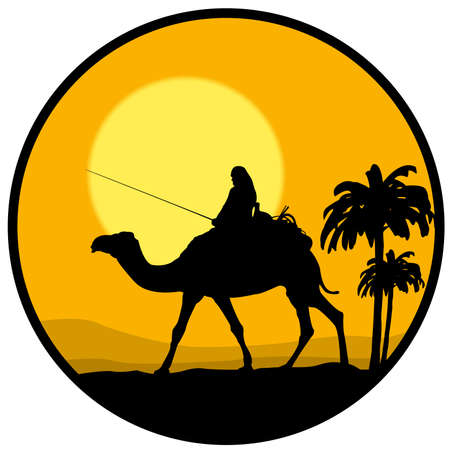 nomad: desert, sunset and the camel Illustration