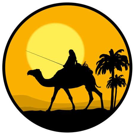 desierto, puesta de sol y el camello Vectores