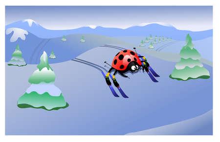 ladybird skier Stock Vector - 9177367