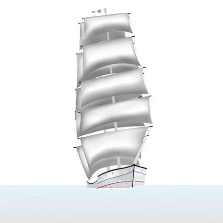 brig ship: Sailing ship brig sails floating in the sea