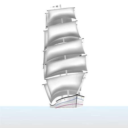 descubridor: Vela velas bergant�n barco flotando en el mar