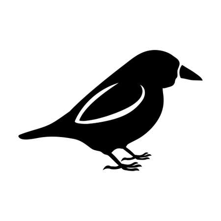 The black silhouette of a sparrow and tit standing on the feet with a white outline of the wing, as well as the beak