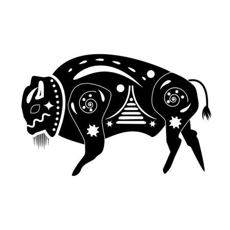 americas: Black - white silhouette of a buffalo bull, bison is depicted in the style of ancient native peoples of the Americas, Africa, Australia and Asia. On the trunk Bika plotted ancient mystical patterns, ornaments shamans for religious rituals. Taurus sign. Illustration