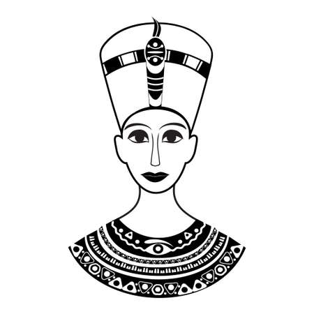 The bust of the ancient Egyptian pharaoh Cleopatra or Nefertiti is shown from the front. On his head a crown on the chest of the old traditional decoration patterns.