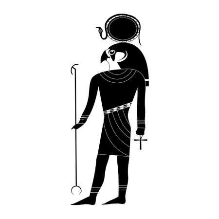 Black and white silhouette of the ancient Egyptian god Ra in ancient traditional style with a falcons head, the sun on his head and a snake in the hands of staff and ankh