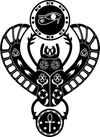 ojo de horus: Blanco y negro silueit símbolo egipcio antiguo, amuleto, escarabajo religioso tradicional escarabajo con patrones y adornos de cultura egipcia radical.