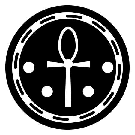 Ancient Egyptian black and white religious sign Ankh is depicted in the form of an emblem on a circular disk with antique ornamentation