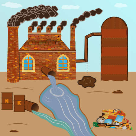 Factory brick smokes pipes, pollution pours through a pipe with a sewage tank with chemicals, barrels with fertilizers and dump pollutes nature against the sky and the lifeless soil Illustration