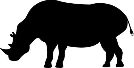Silhouette of rhino grazing can be used as an illustration or emblem, sign