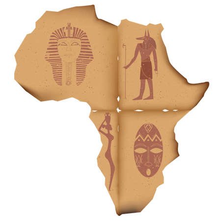 charred: A piece of old, battered charred paper in the shape of Africa, with faded images of the pharaoh masks, Anubis, the silhouette of a girl with a pitcher and masks African tribe Illustration