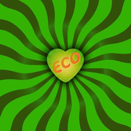 コンポジションの中心で心とレトロなスタイルで太陽の光線。生態学的なスタイルで、グリーンを図します。エコの心に刻まれた文字。 写真素材 - 77887210