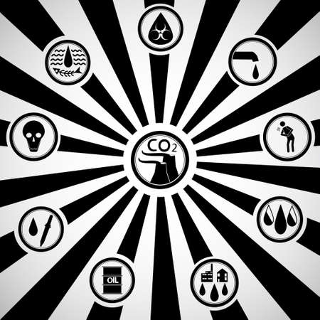 Icons on a background of black and white sun rays retro show the nature of the problem of pollution, the greenhouse effect and related problems in people. Illustration