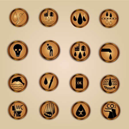 biohazard: The icons in the style of steampunk about waste water, pollution, disease, the purification of polluted water and its use for the benefit of the economy