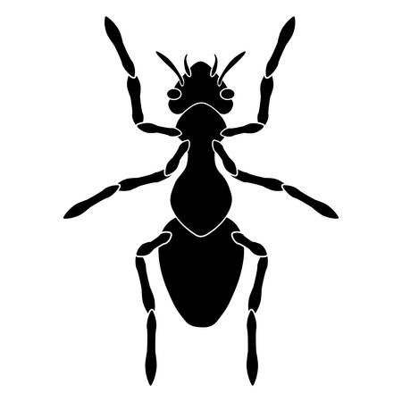 Black-and-white silhouette of an ordinary worker ant. Torso, abdomen, paws, head, eyes and antennae are visible.