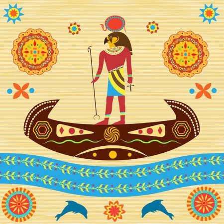 Mitologiczny Ra, bóg starożytnego Egiptu, unosi się w łodzi po drugiej stronie nieba. Reprezentował tradycyjne egipskie i afrykańskie wzory na tle papirusu lub antyków. Ilustracje wektorowe