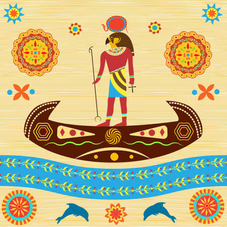 The mythological Ra, the God of ancient Egypt, floats in a boat across the sky. Represented traditional Egyptian and African patterns on the background of papyrus or antique fabric. Vektorové ilustrace