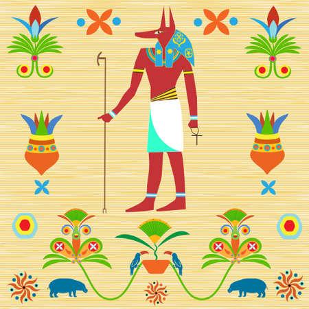God Anubis with Egyptian symbols icon. Illustration