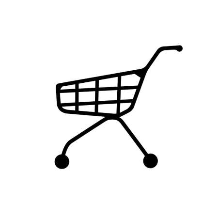 Black silhouette of shopping trolley with basket, wheels and handle Illustration