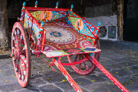 In Acireale, Sicily, a typical paint cart named Sicilian cart